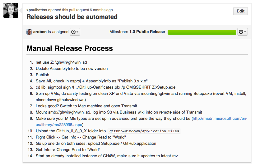 """""""Releases should be automated"""" issue for GitHub for Windows"""