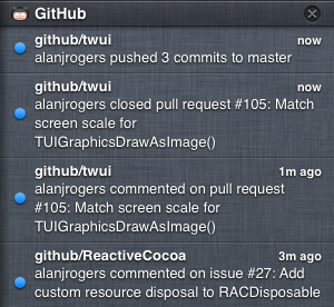 GitHub for Mac in the Notification Center