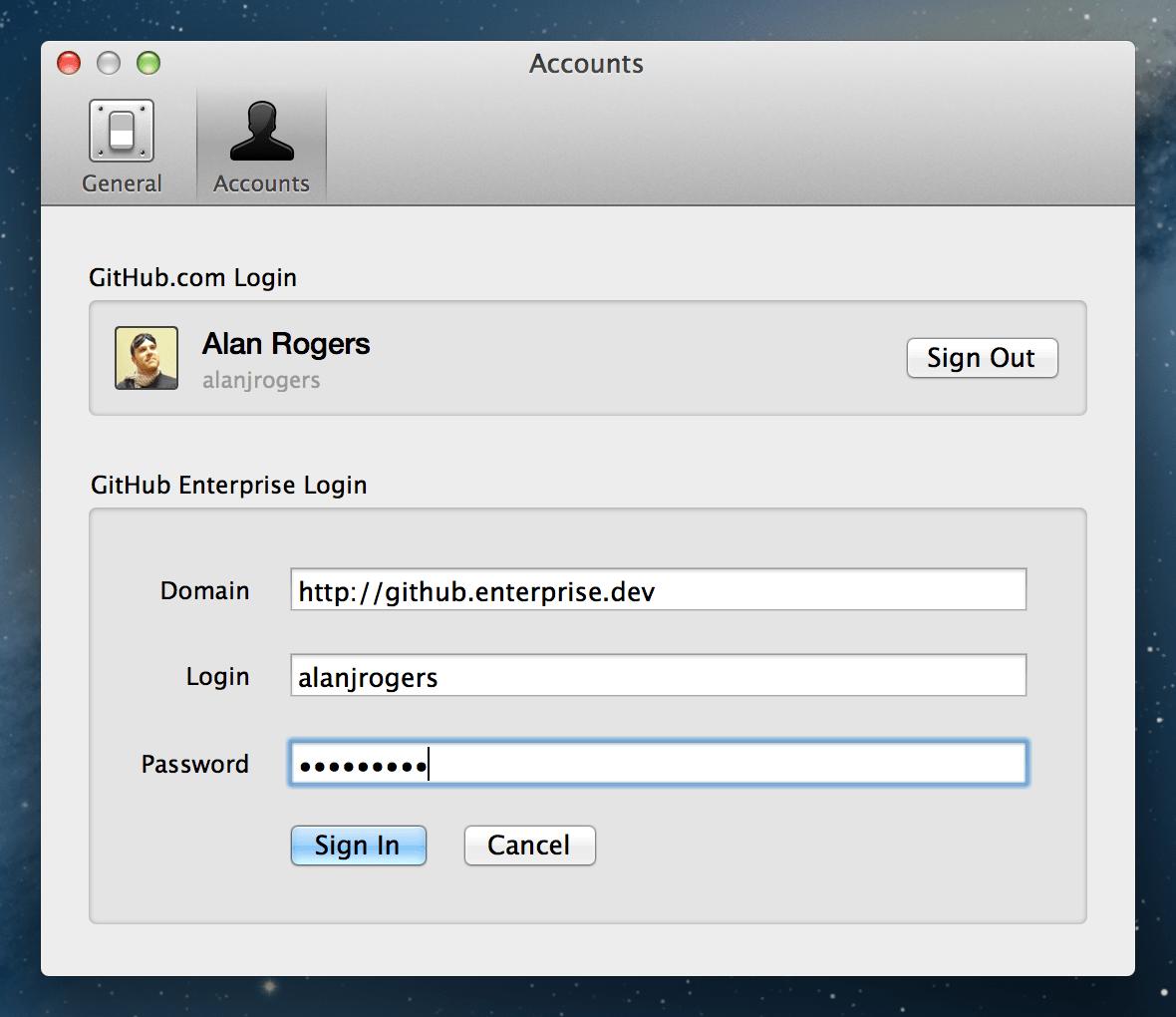 Enterprise login form
