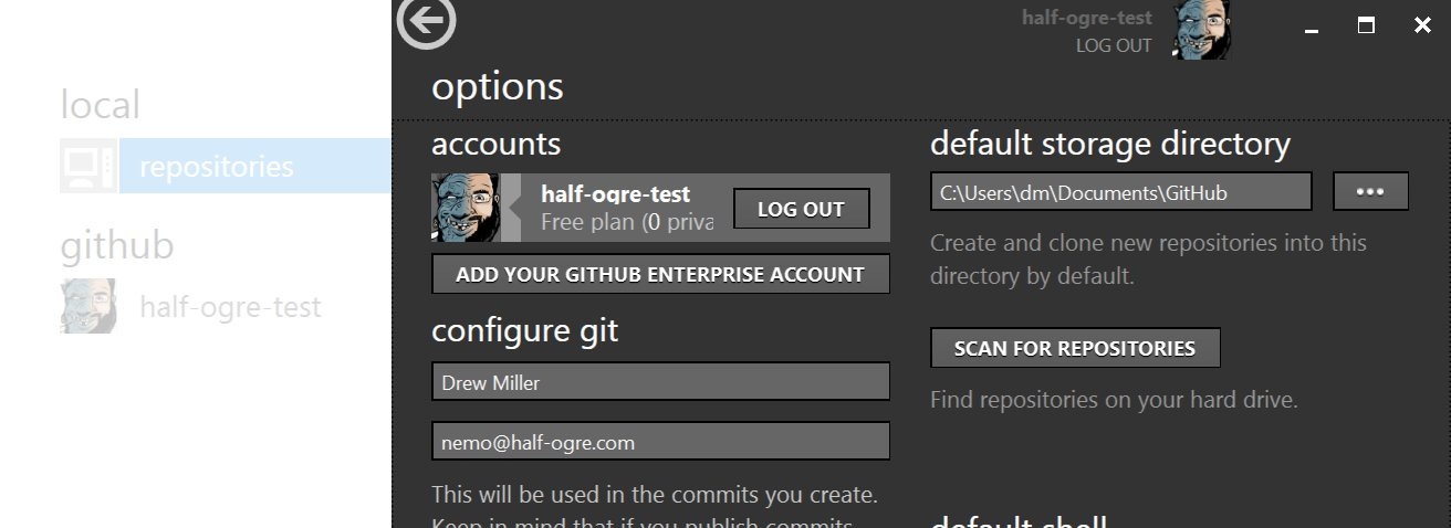 options view with GitHub Enterprise login button