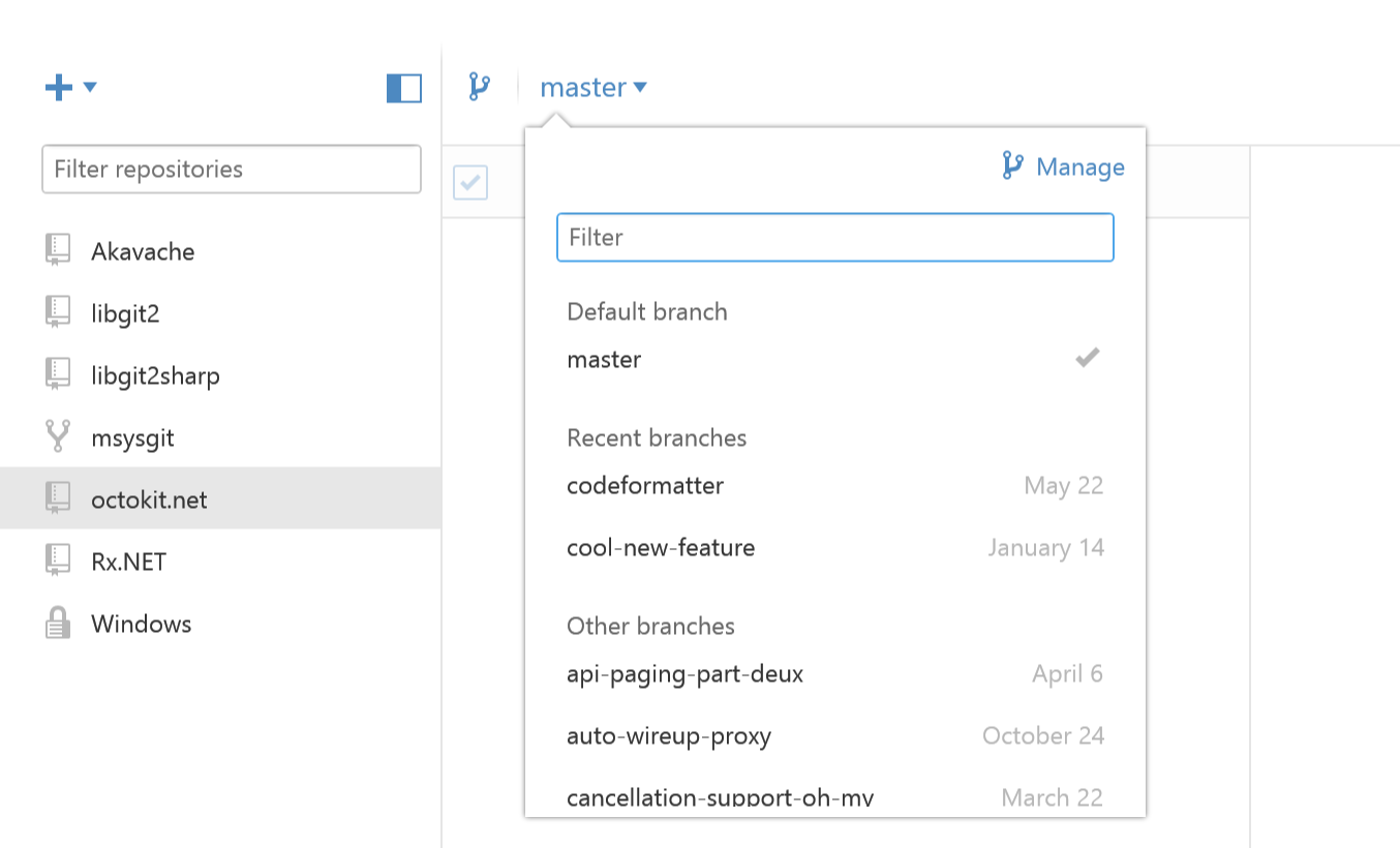 New branch selector lets you see recently checked out branches