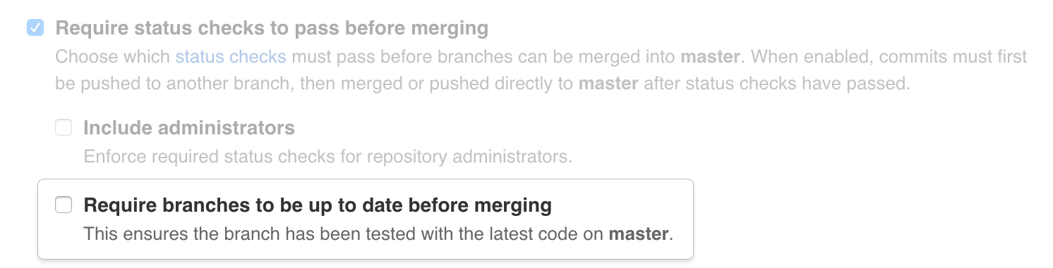 Toggle whether a branch has to be up to date with a protected branch