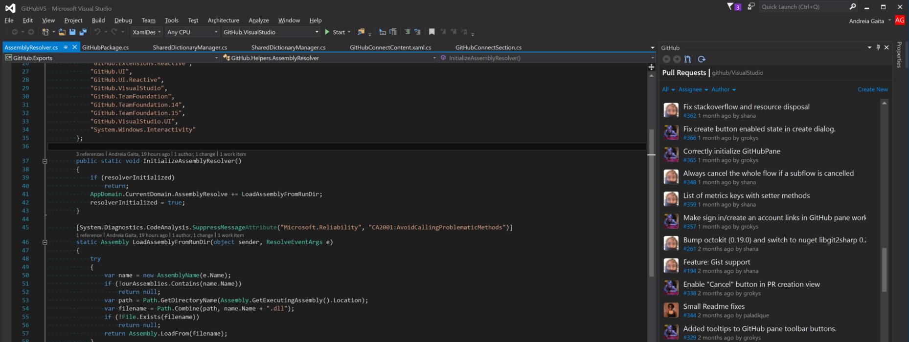 Screenshot of Visual Studio with GitHub pane open