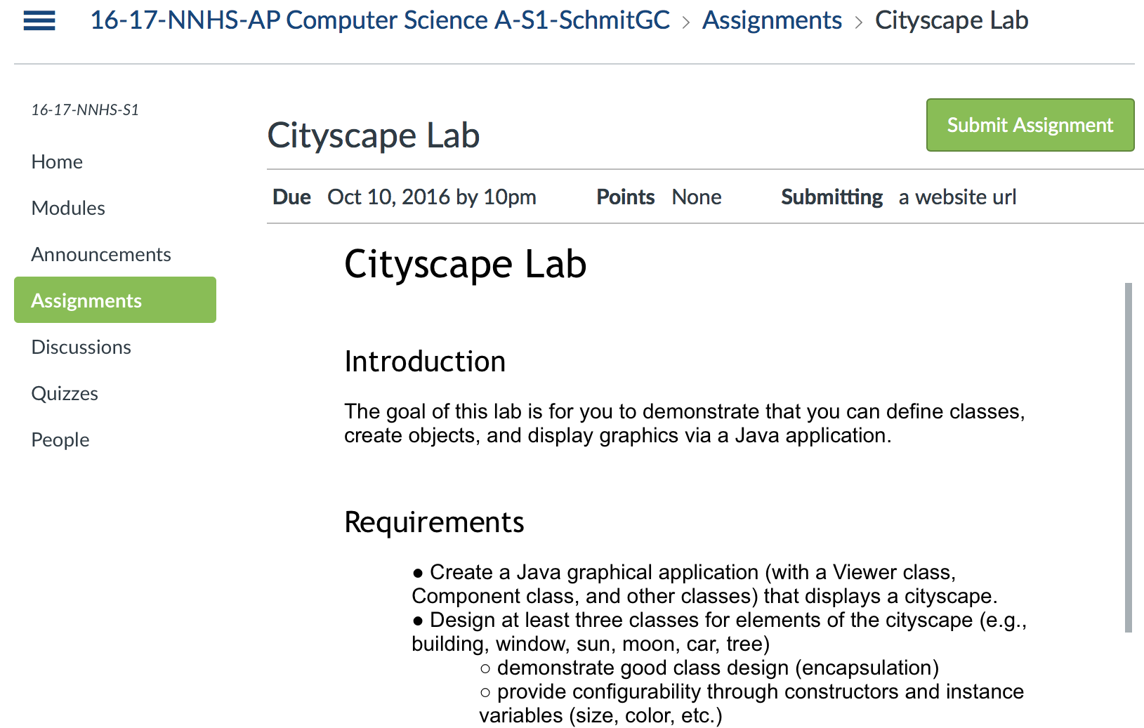 Cityscape Lab from Schmit's course
