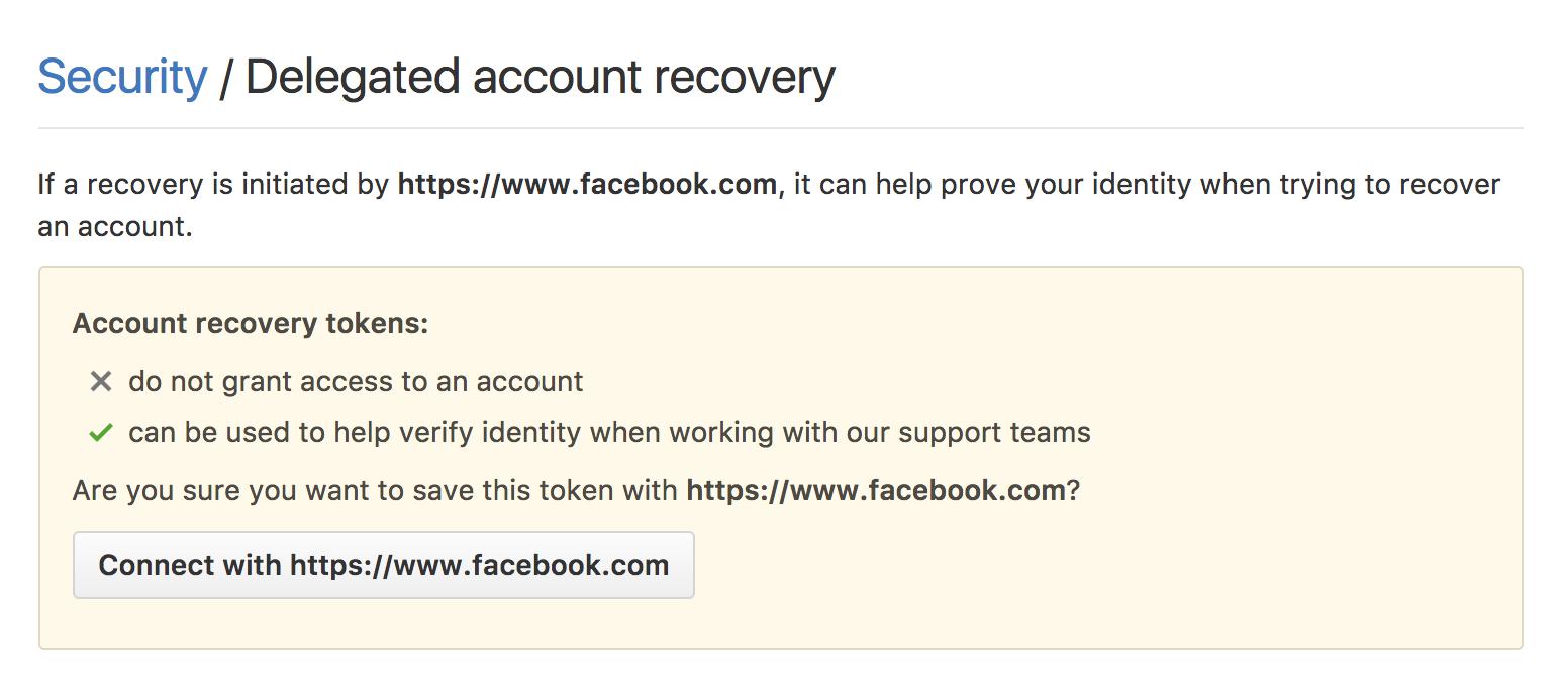 Image of recovery option on GitHub