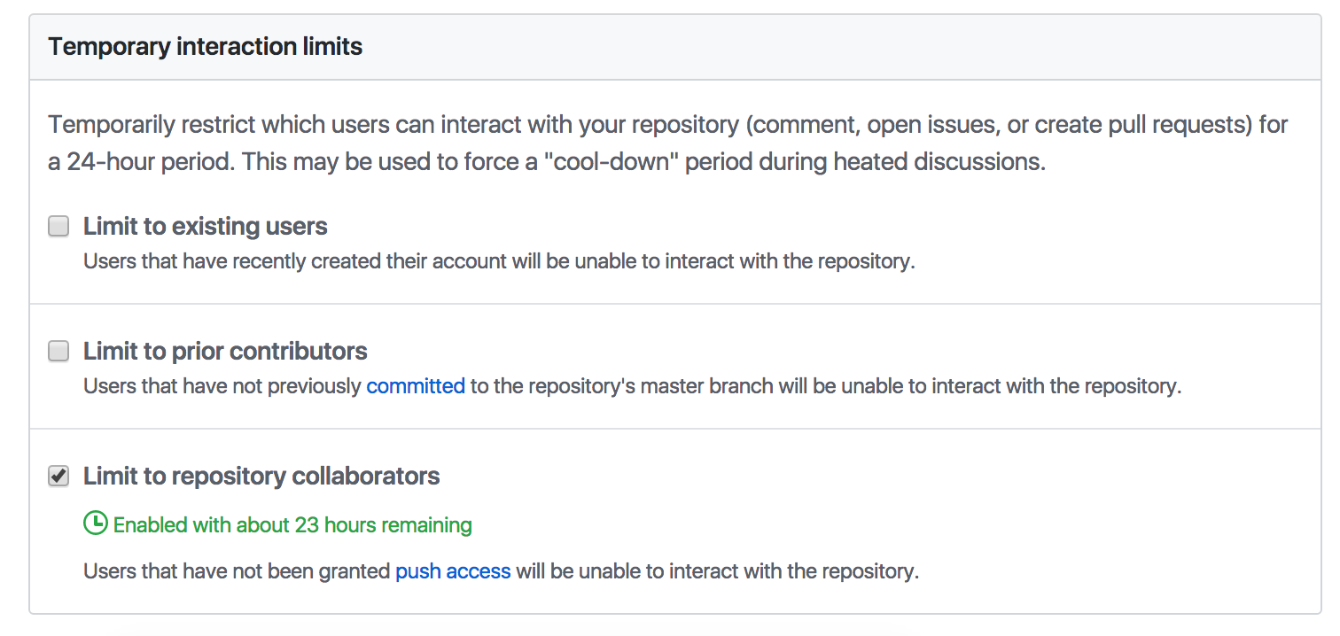 The new temporary interaction limits in repo settings