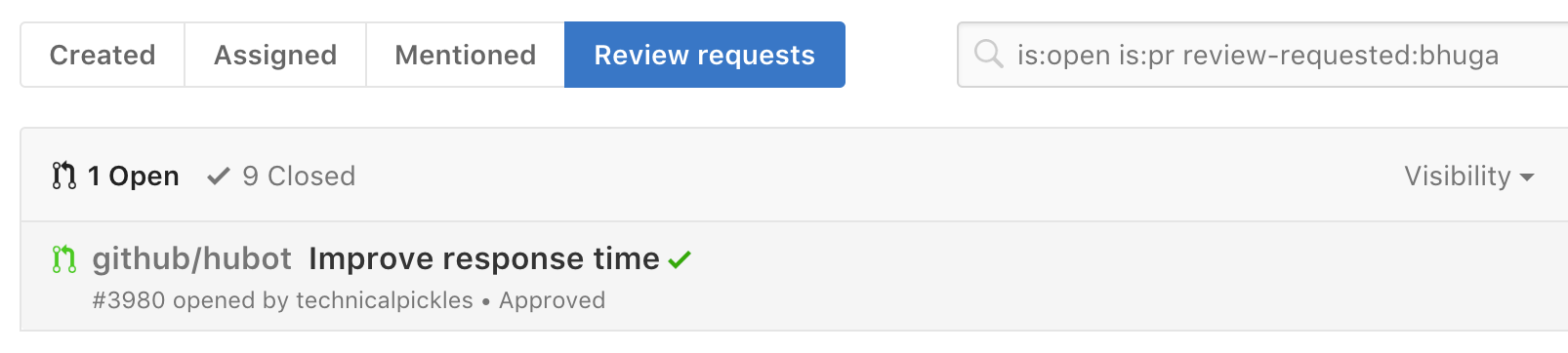 A screenshot showing the global review requests dashboard