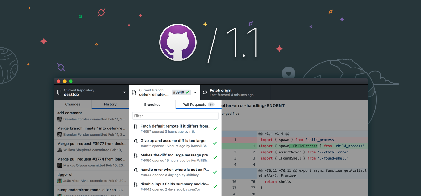 A screenshot of the new GitHub Desktop app