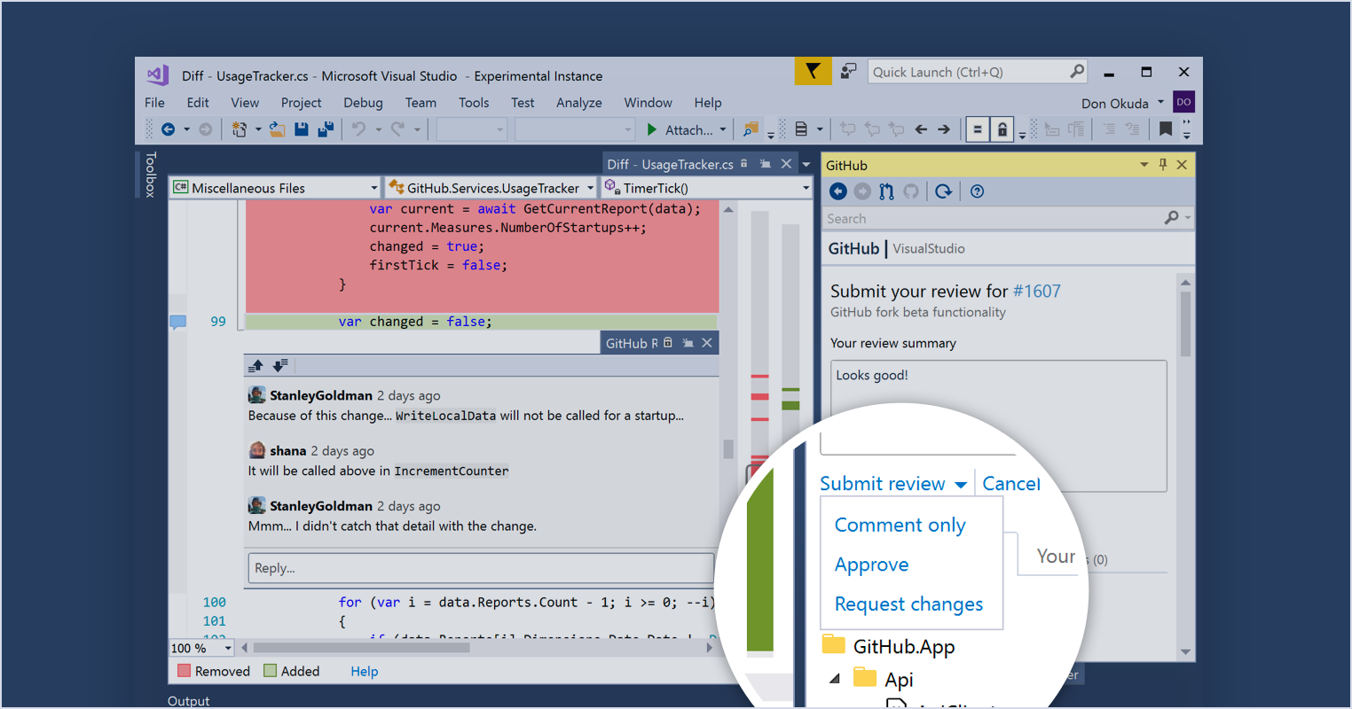 Review pull requests from within Visual Studio - The GitHub Blog
