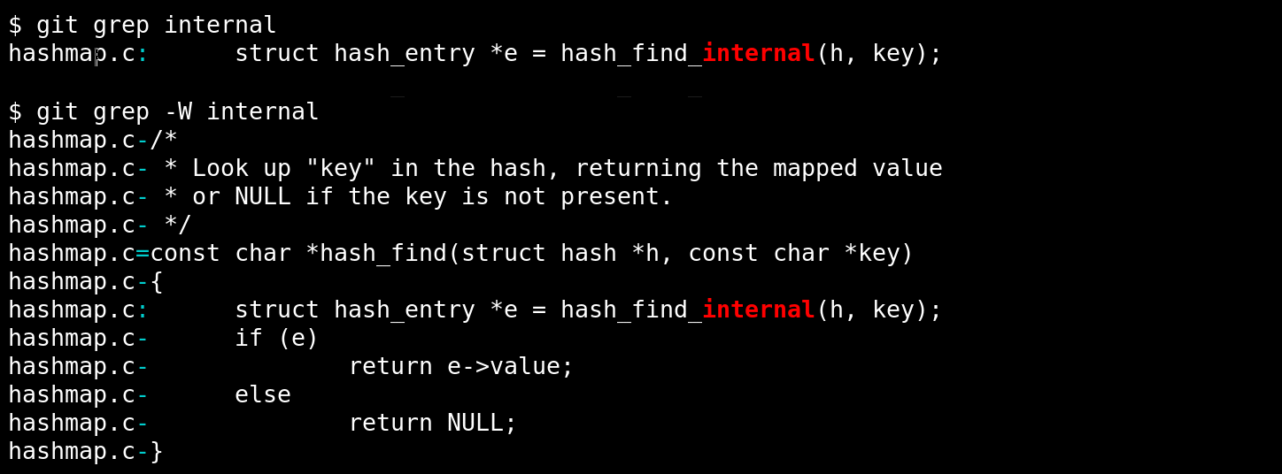 grep -W shows comments above function context