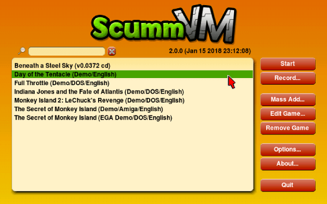 ScummVM 2.0.0 launcher screenshot