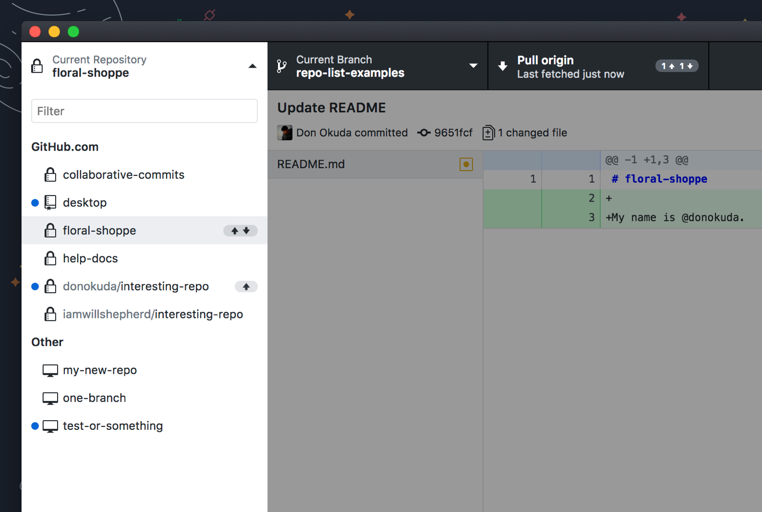 Repository list screenshot