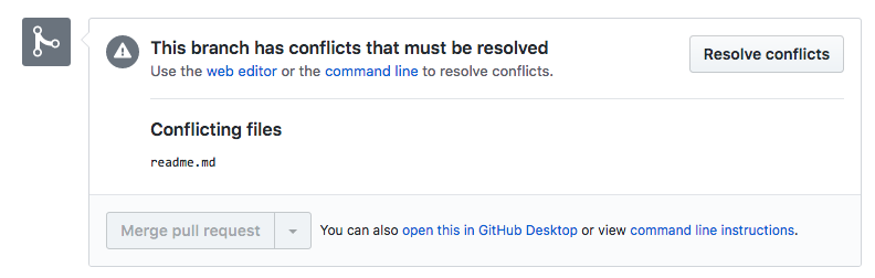 You'll see a notification when merge conflicts happen in a pull request