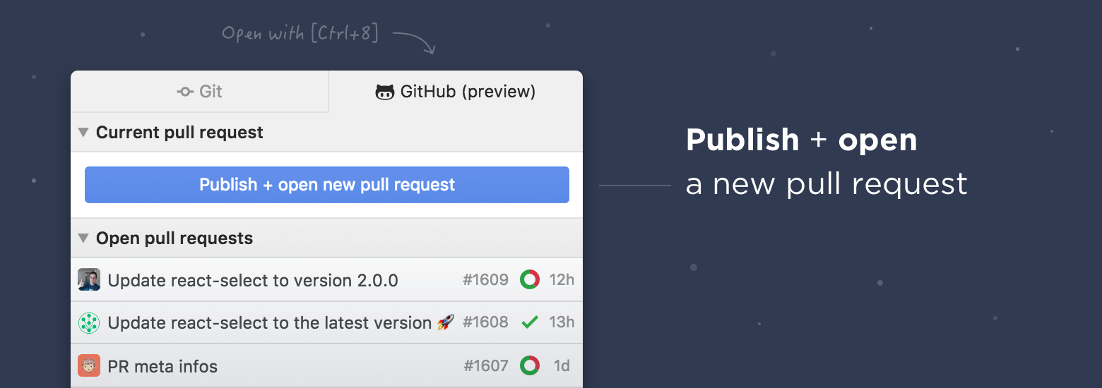 Screenshot showing you're invted to publish your branch and create a pull request with changes