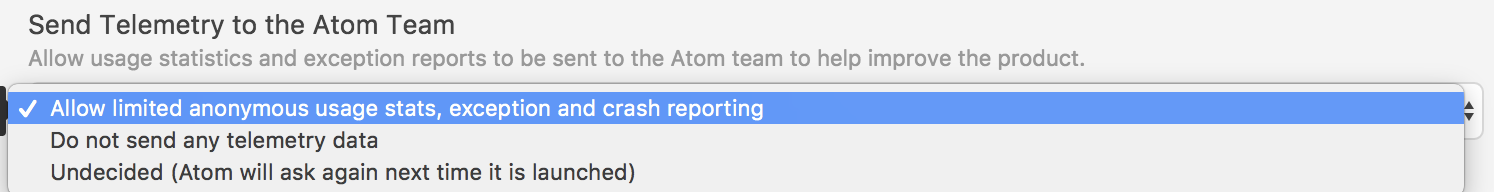 Atom Preferences tab showing option to choose Allow limited anonymous usage states, exception, and crash reporting