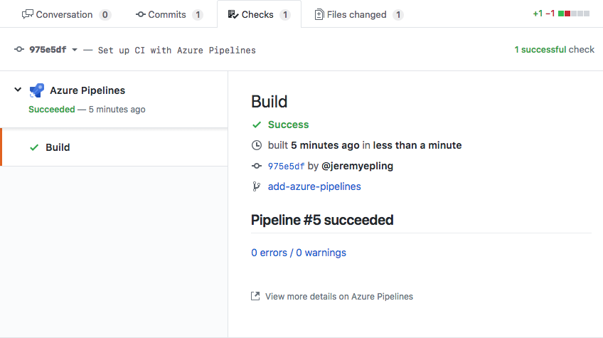 Azure Pipelines integration with GitHub screenshot