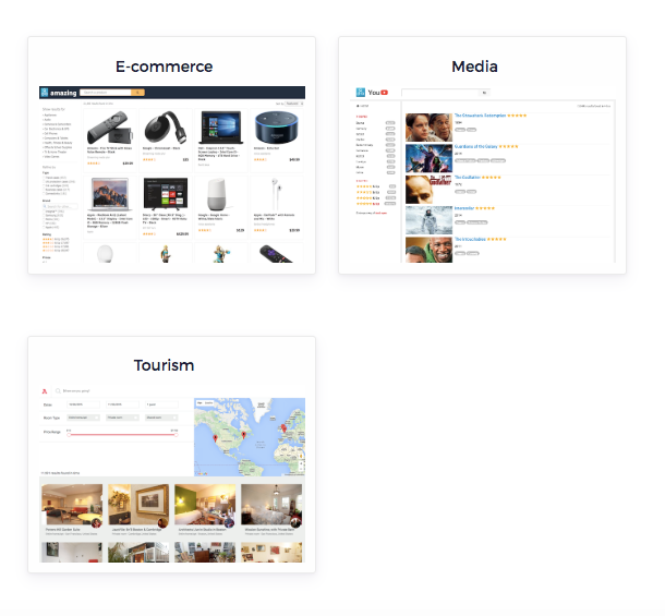 Examples of Algolia Instant Search for e-commerce, media, and tourism