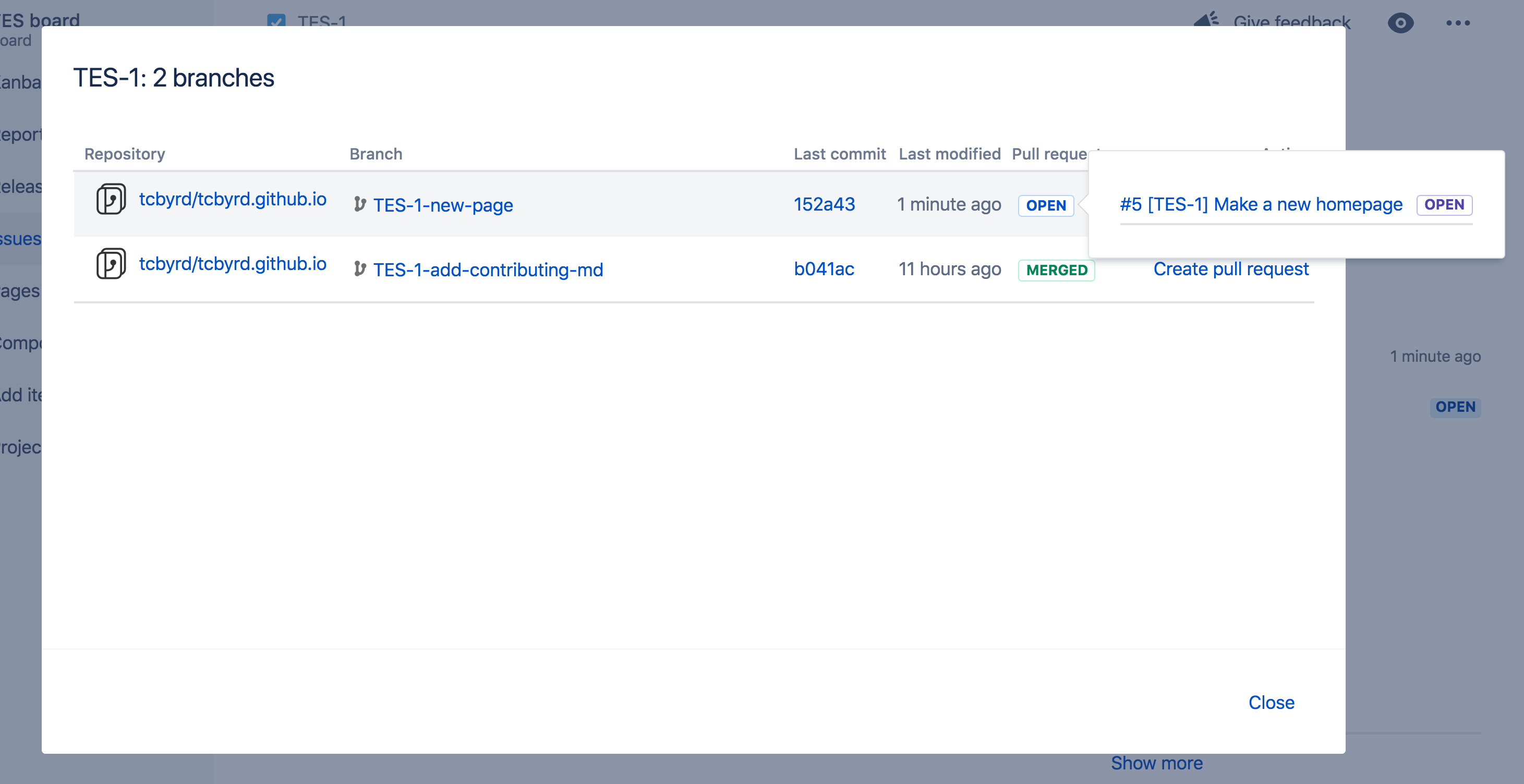 Screenshot of a Jira issue with pull request details
