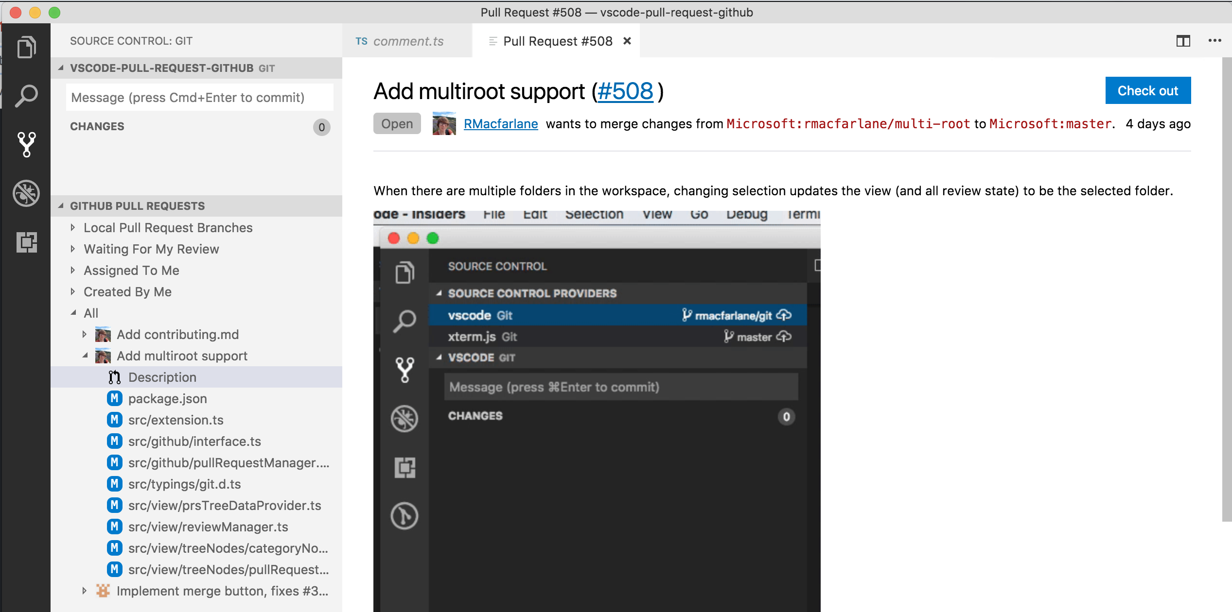 The pull request experience in Visual Studio Code