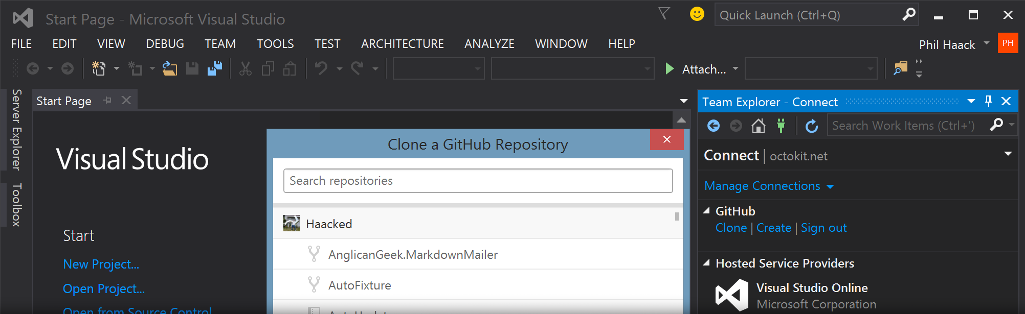 """Clone a GitHub Repository"" dialog in Visual Studio"