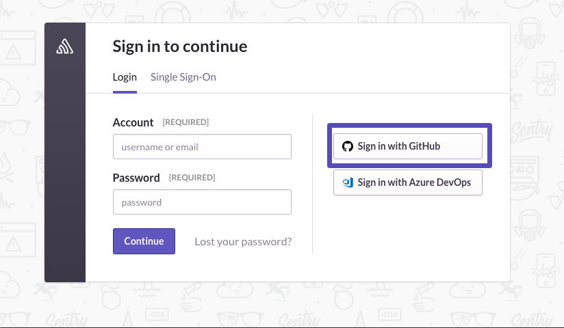 Sign in with GitHub option