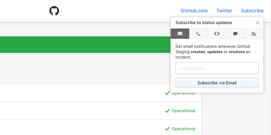 A popover of all of the subscription options for consuming status state changes.
