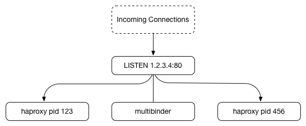 Multibinder LISTEN socket sharing diagram