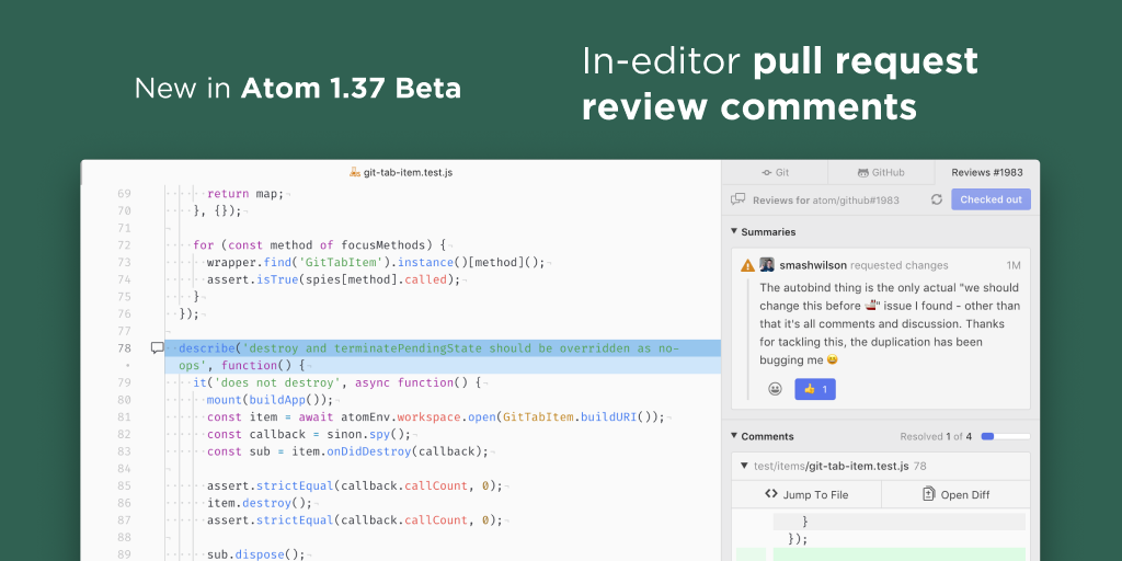 Image announcing the new code review features in Atom