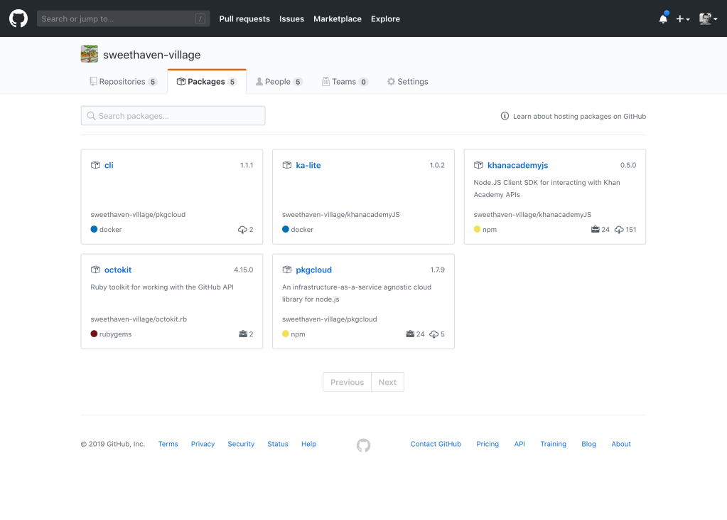View of GitHub Package Registry in an organization