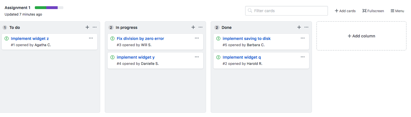 Project boards keep you organized with assigned tasks and status details.