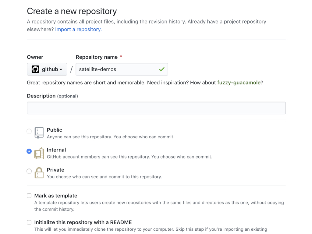 "Screenshot showing how to create an internal repository using the ""Create a new repository"" screen"