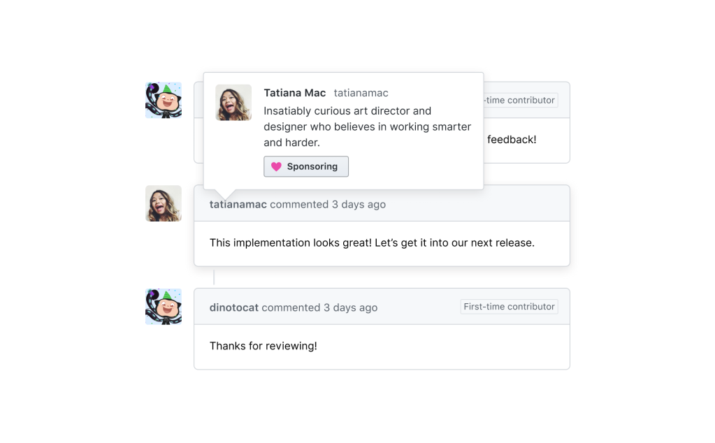 "Screenshot demonstrating how to sponsor a developer by clicking ""Sponsor"" on their user hover cards"