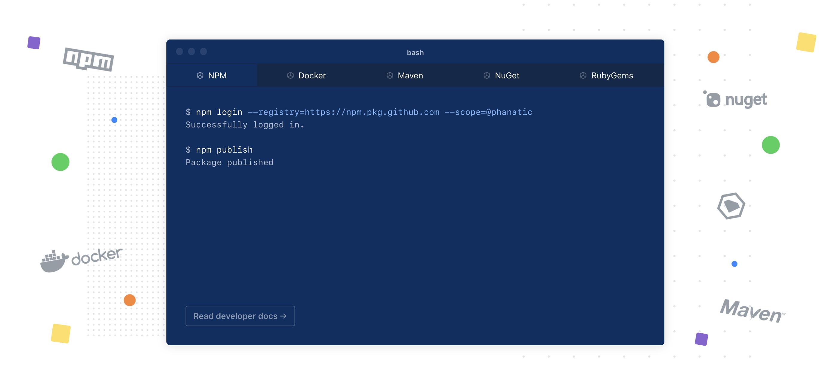 GitHub Package Registry 메인 화면