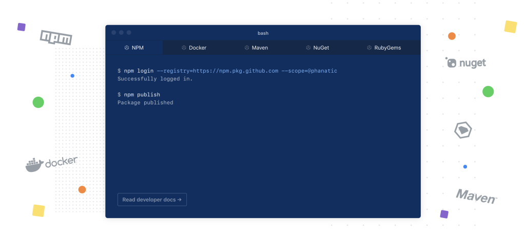 View of terminal commands to packages