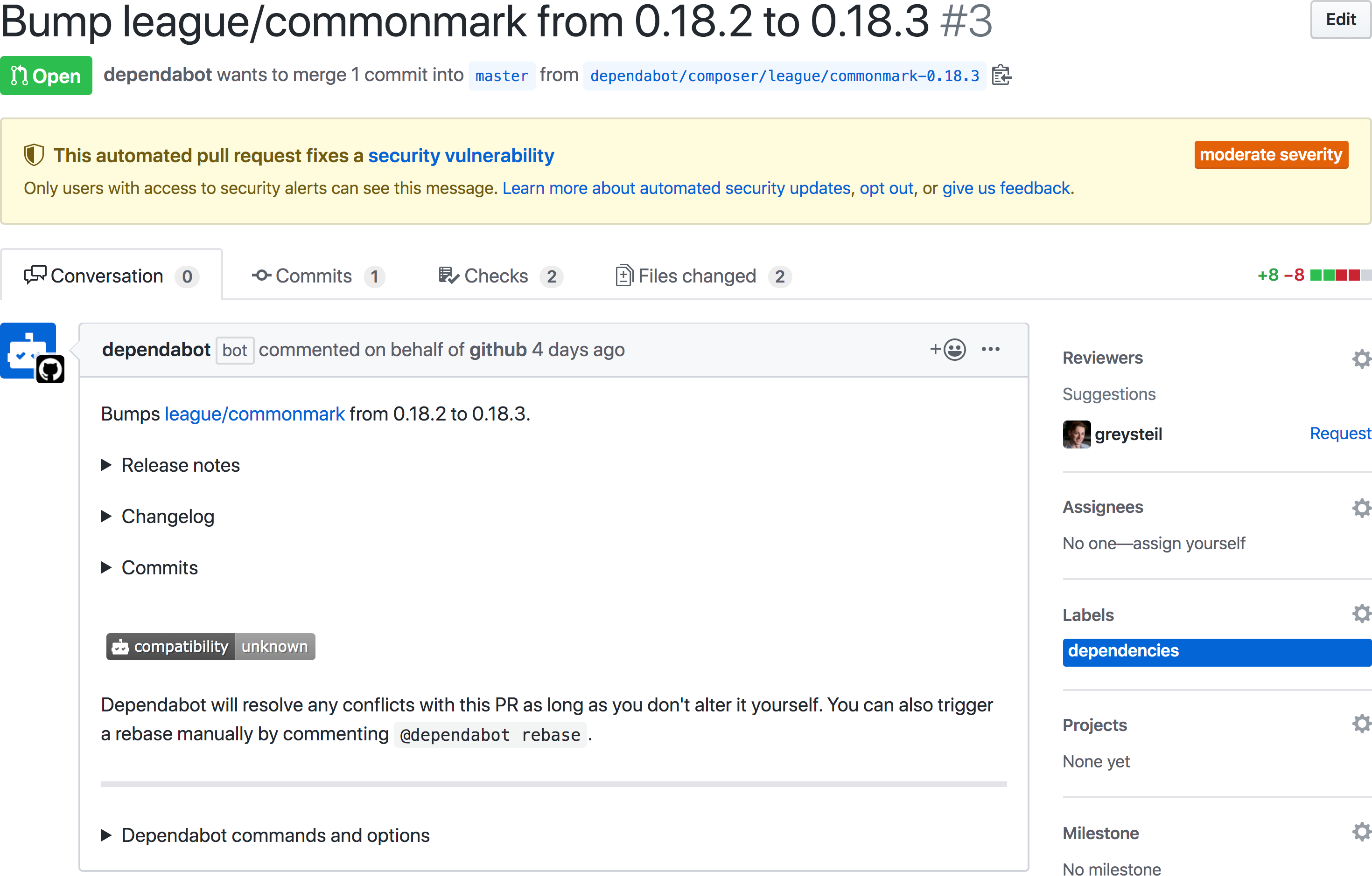 Automated security updates are found in pull requests, automatically opened by dependabot.