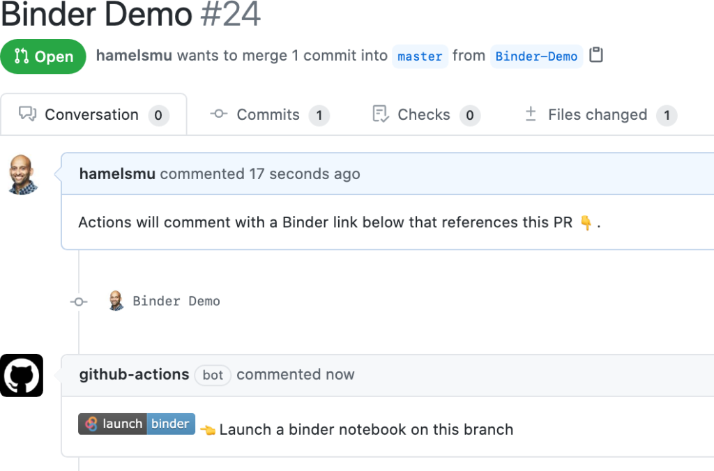 Screenshot showing Actions commenting with a Binder link