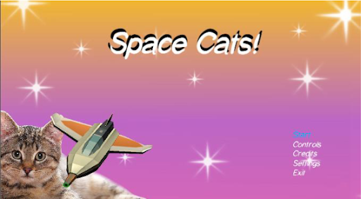 A screenshot of the Space Cats! main menu