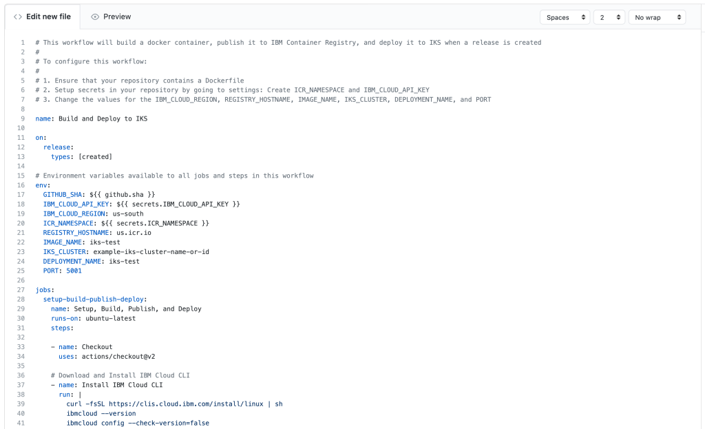 Screenshot of GitHub action for this workflow