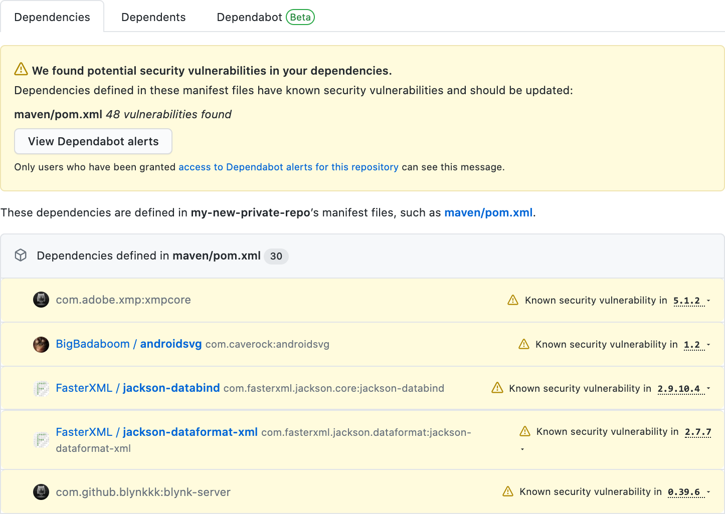 GitHub Dependency Graph screenshot