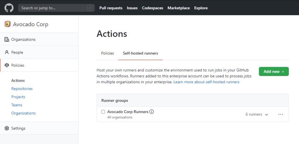 Screenshot of self-hosted runner groups