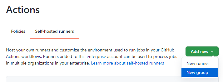 Screenshot of UI for adding new runners / groups