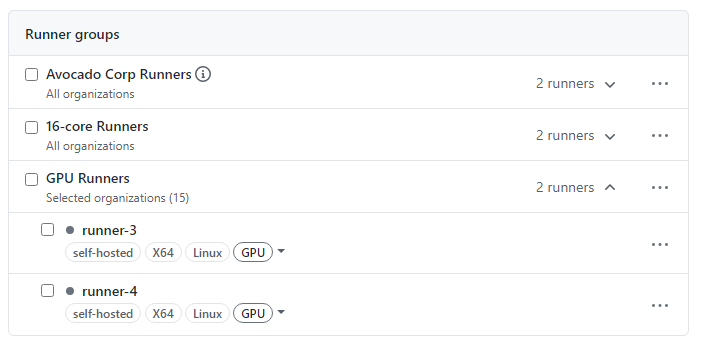 Screenshot showing runner lists