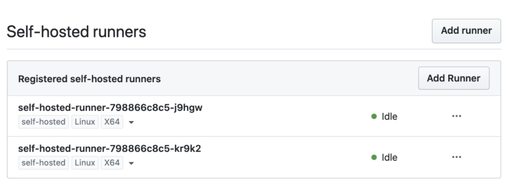 Screenshot - self-hosted runners
