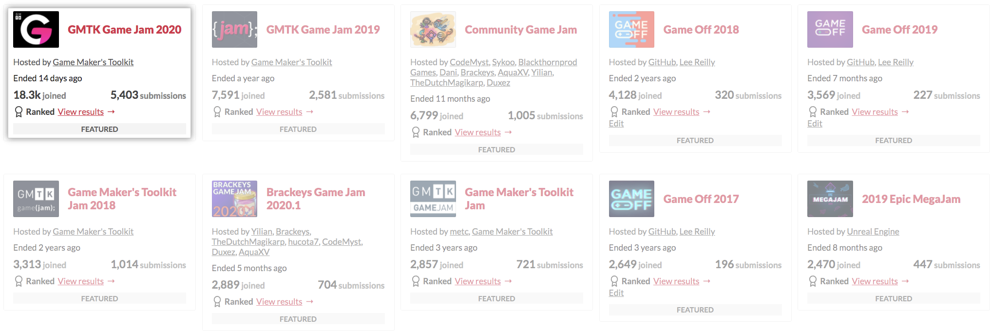 Screenshot showing top game jams on itch.io