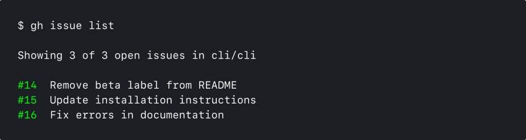 Screenshot of GitHub CLI running 'gh issue list'