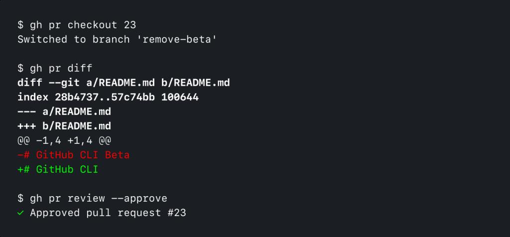 Screenshot of GitHub CLI running 'gh pr checkout 23' and 'gh pr diff'