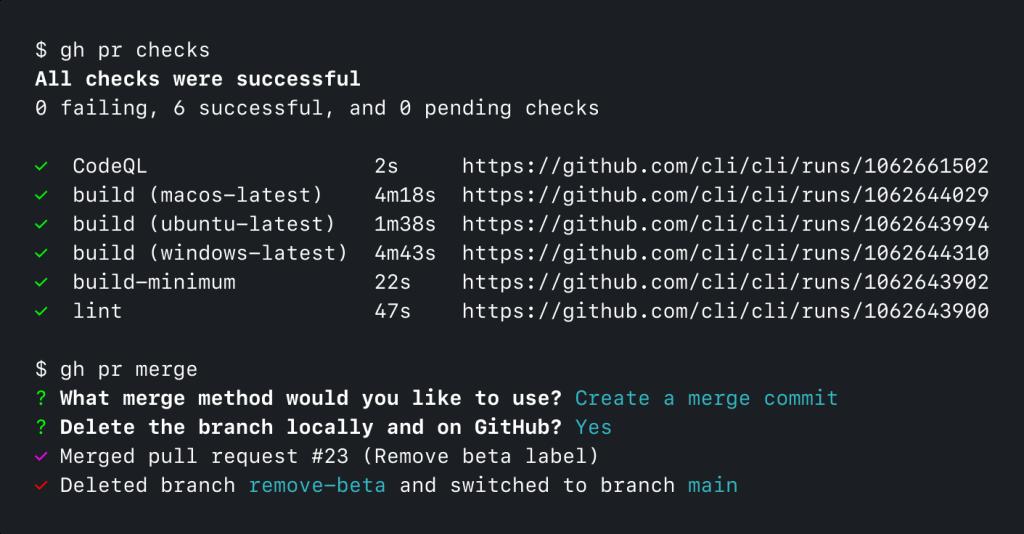Screenshot of GitHub CLI running 'gh pr checks' and 'gh pr merge'