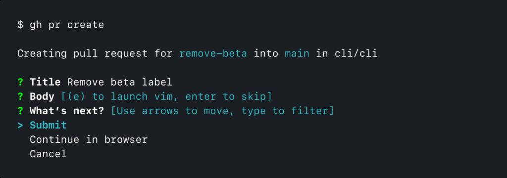 Screenshot of GitHub CLI running 'gh pr create'