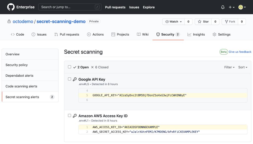 GitHub Enterprise Server 3.0 - sekretne skanowanie