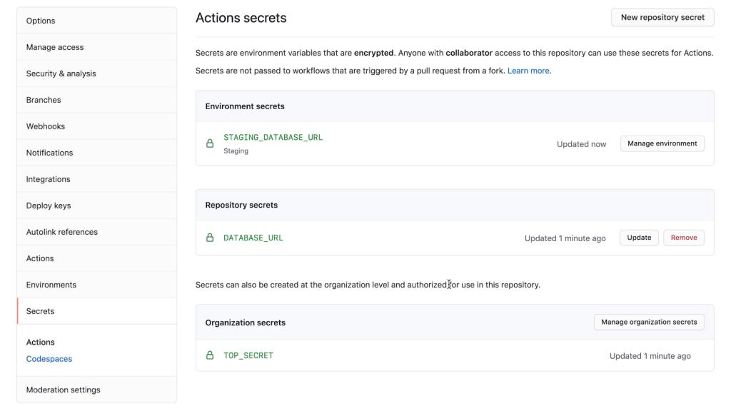 Screenshot of UI for Actions secret configuration